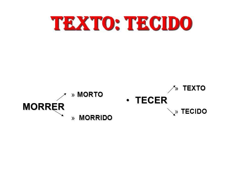 TEXTO: TECIDO TEXTO TECER TECIDO MORTO MORRER MORRIDO