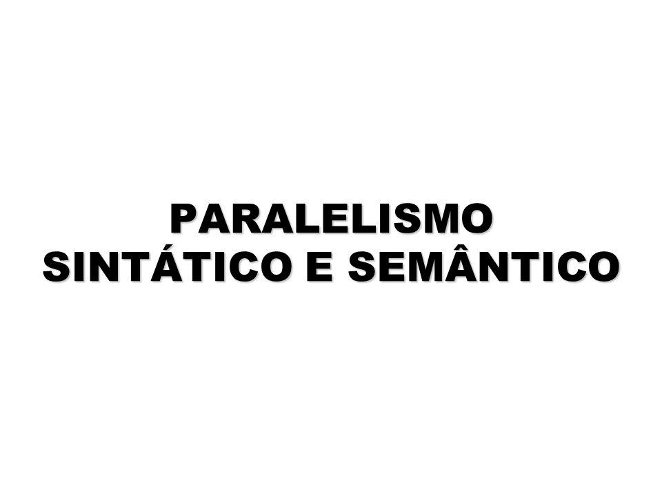 PARALELISMO SINTÁTICO E SEMÂNTICO