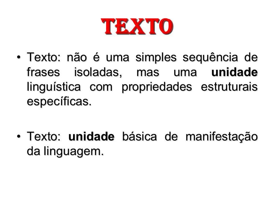 TEXTOTexto: não é uma simples sequência de frases isoladas, mas uma unidade linguística com propriedades estruturais específicas.
