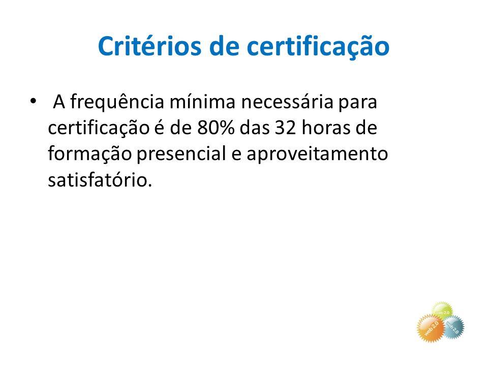 Critérios de certificação