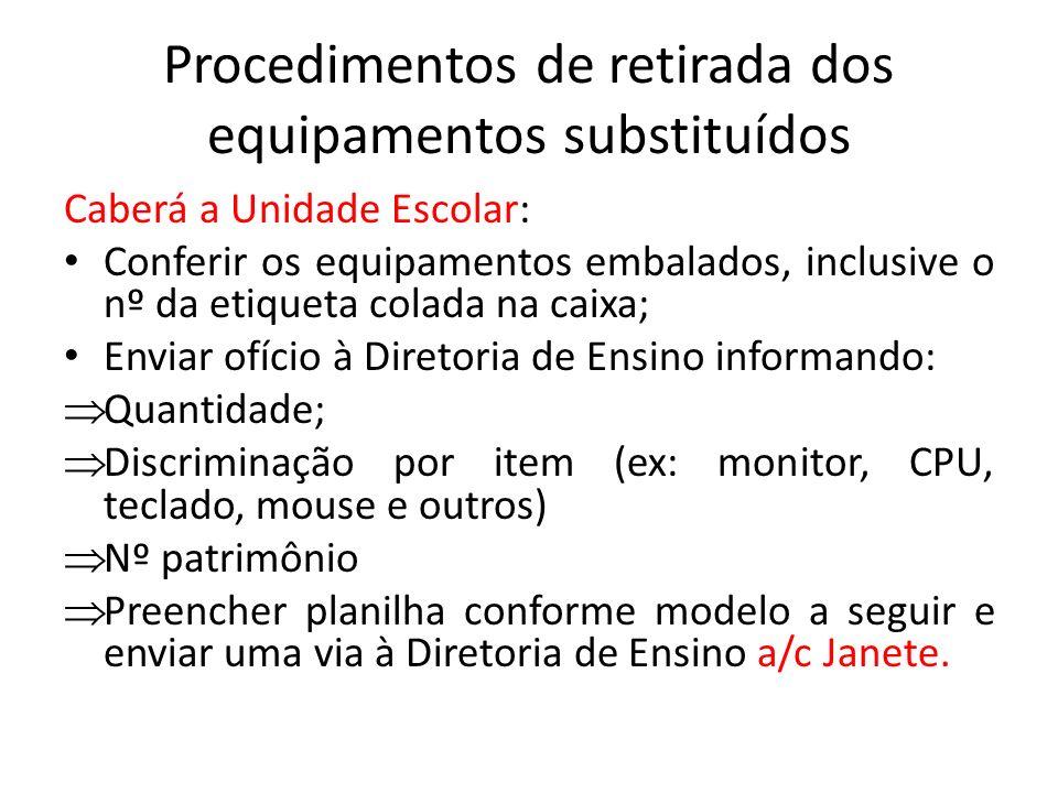 Procedimentos de retirada dos equipamentos substituídos