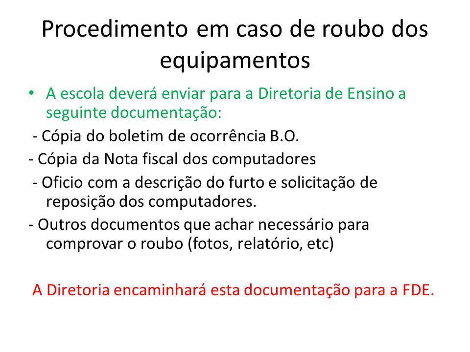 Procedimento em caso de roubo dos equipamentos