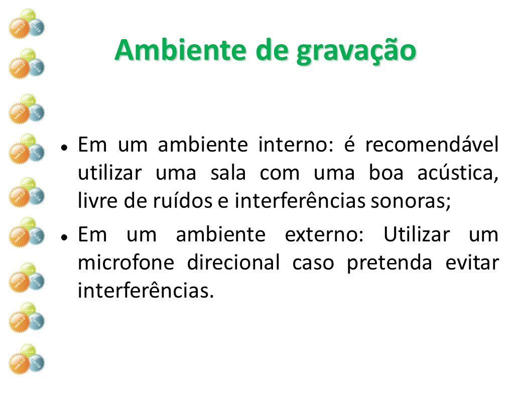 Ambiente de gravação Em um ambiente interno: é recomendável utilizar uma sala com uma boa acústica, livre de ruídos e interferências sonoras;