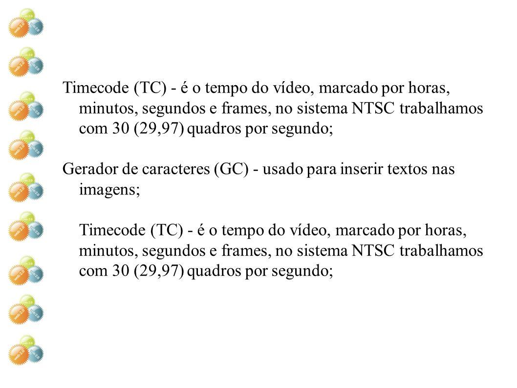 Timecode (TC) - é o tempo do vídeo, marcado por horas, minutos, segundos e frames, no sistema NTSC trabalhamos com 30 (29,97) quadros por segundo;