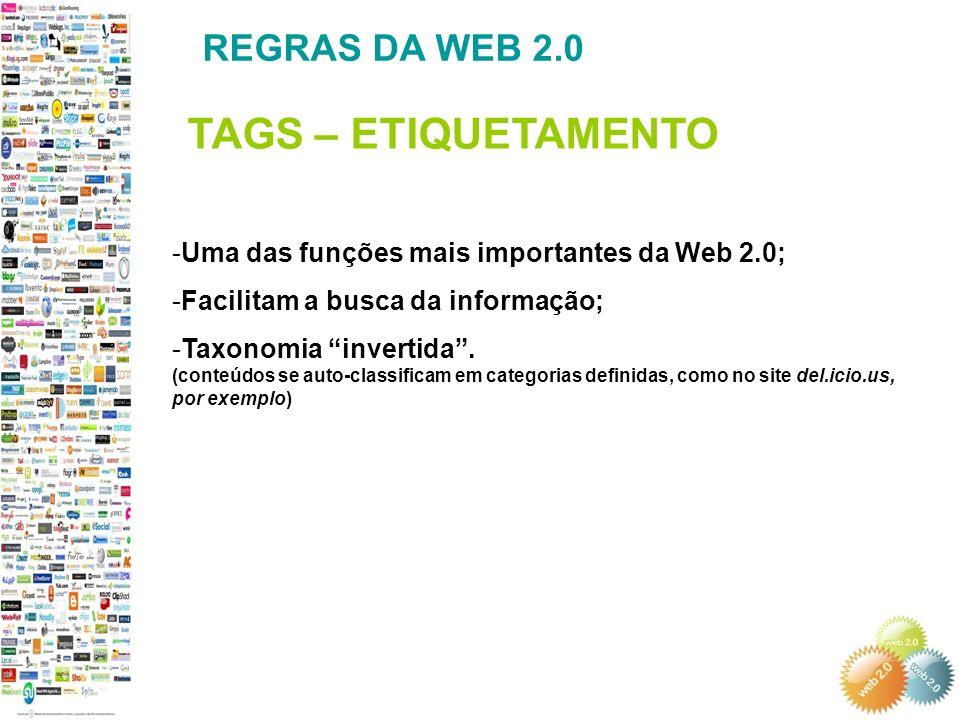 TAGS – ETIQUETAMENTO REGRAS DA WEB 2.0