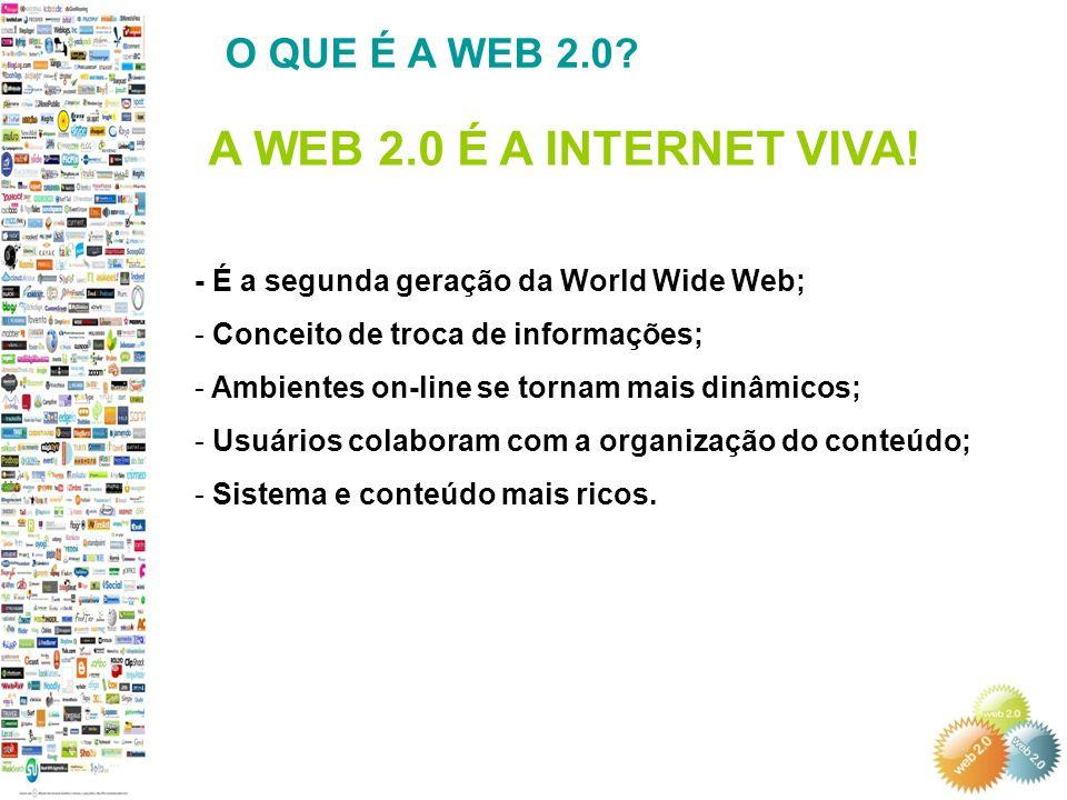 A WEB 2.0 É A INTERNET VIVA! O QUE É A WEB 2.0