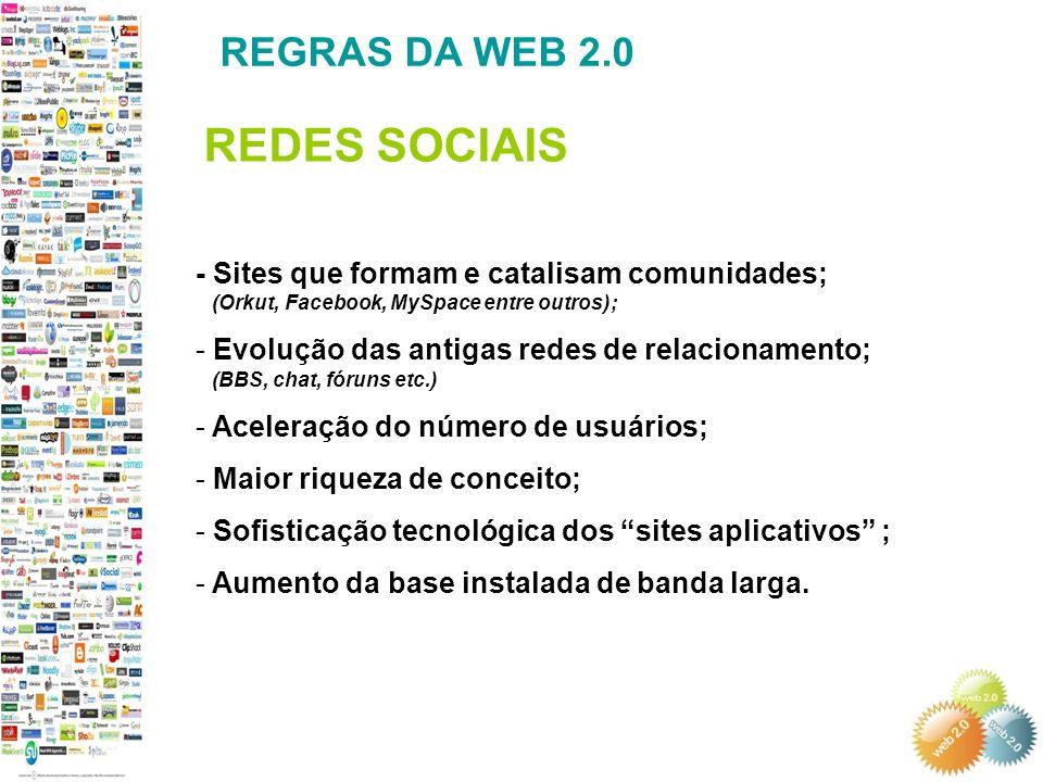 REDES SOCIAIS REGRAS DA WEB 2.0