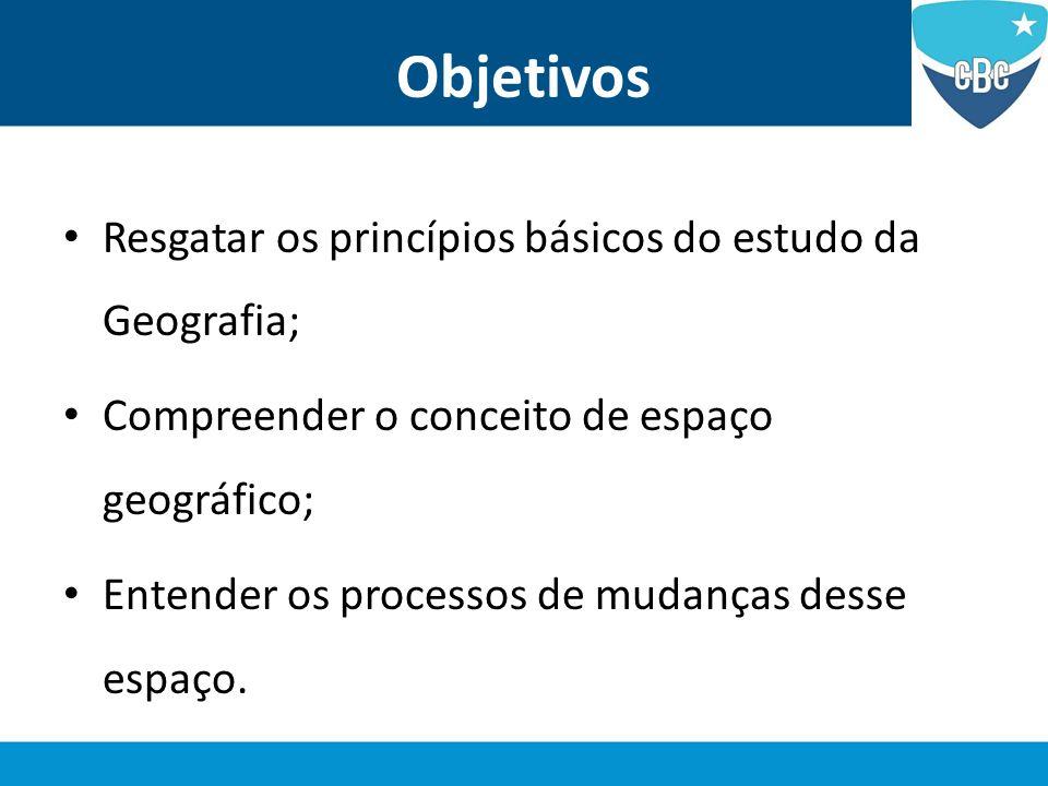 Objetivos Resgatar os princípios básicos do estudo da Geografia;