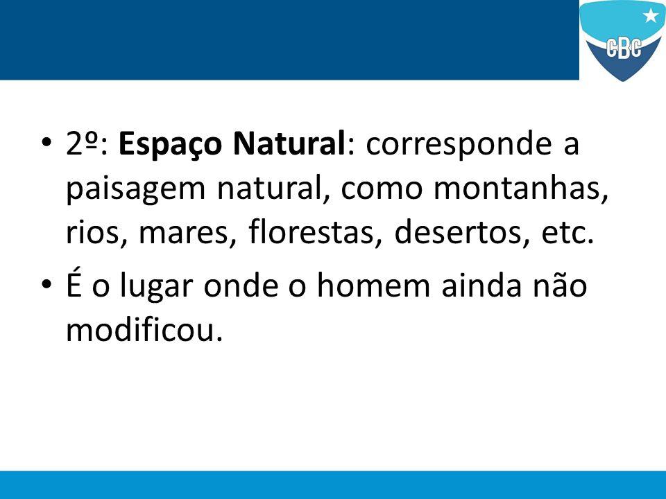 2º: Espaço Natural: corresponde a paisagem natural, como montanhas, rios, mares, florestas, desertos, etc.