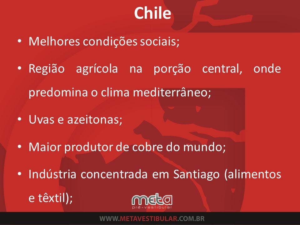 Chile Melhores condições sociais;