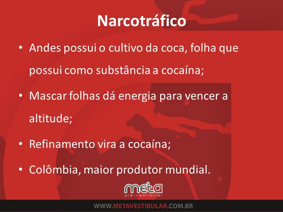 Narcotráfico Andes possui o cultivo da coca, folha que possui como substância a cocaína; Mascar folhas dá energia para vencer a altitude;