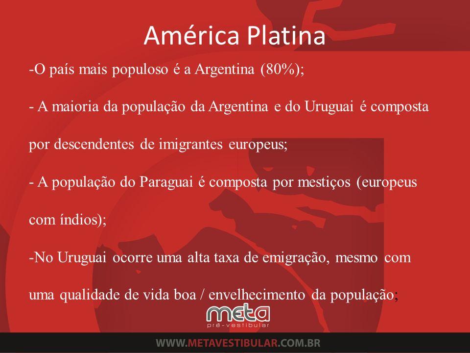 América Platina O país mais populoso é a Argentina (80%);