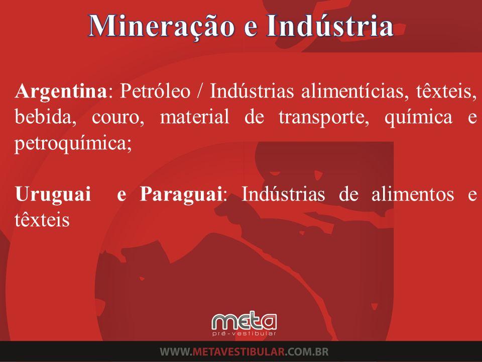 Mineração e Indústria Argentina: Petróleo / Indústrias alimentícias, têxteis, bebida, couro, material de transporte, química e petroquímica;