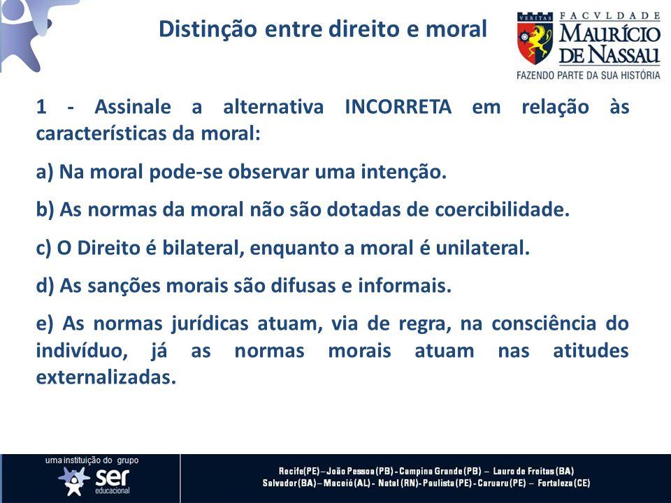 Distinção entre direito e moral