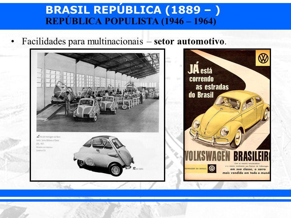 Facilidades para multinacionais – setor automotivo.