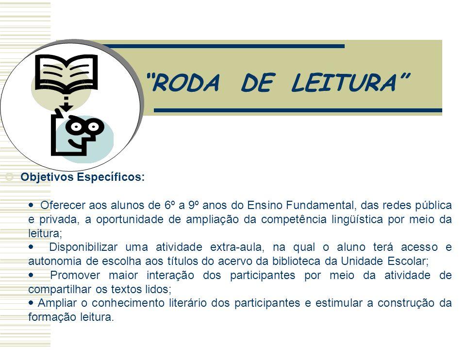 RODA DE LEITURA Objetivo Geral: