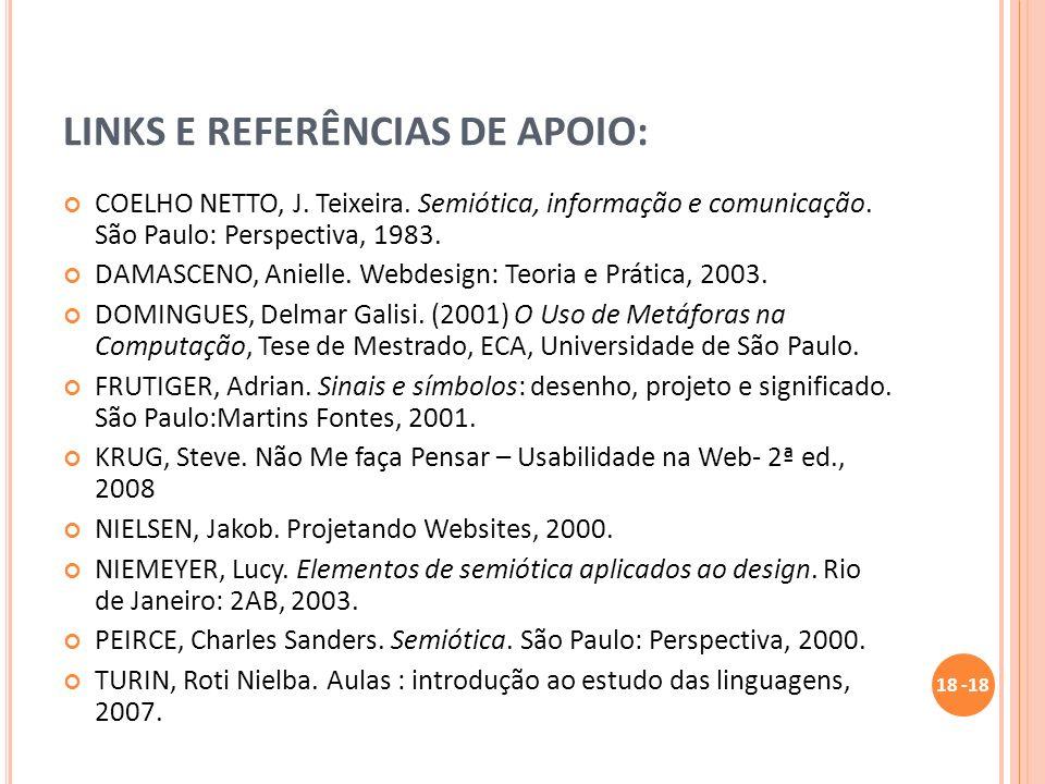 LINKS E REFERÊNCIAS DE APOIO: