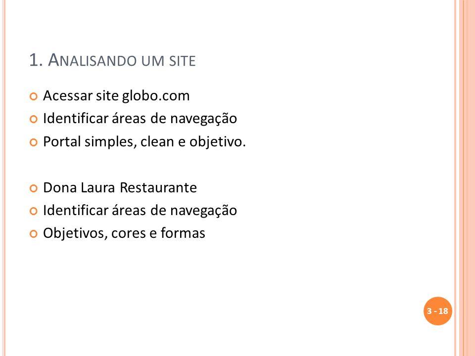 1. Analisando um site Acessar site globo.com