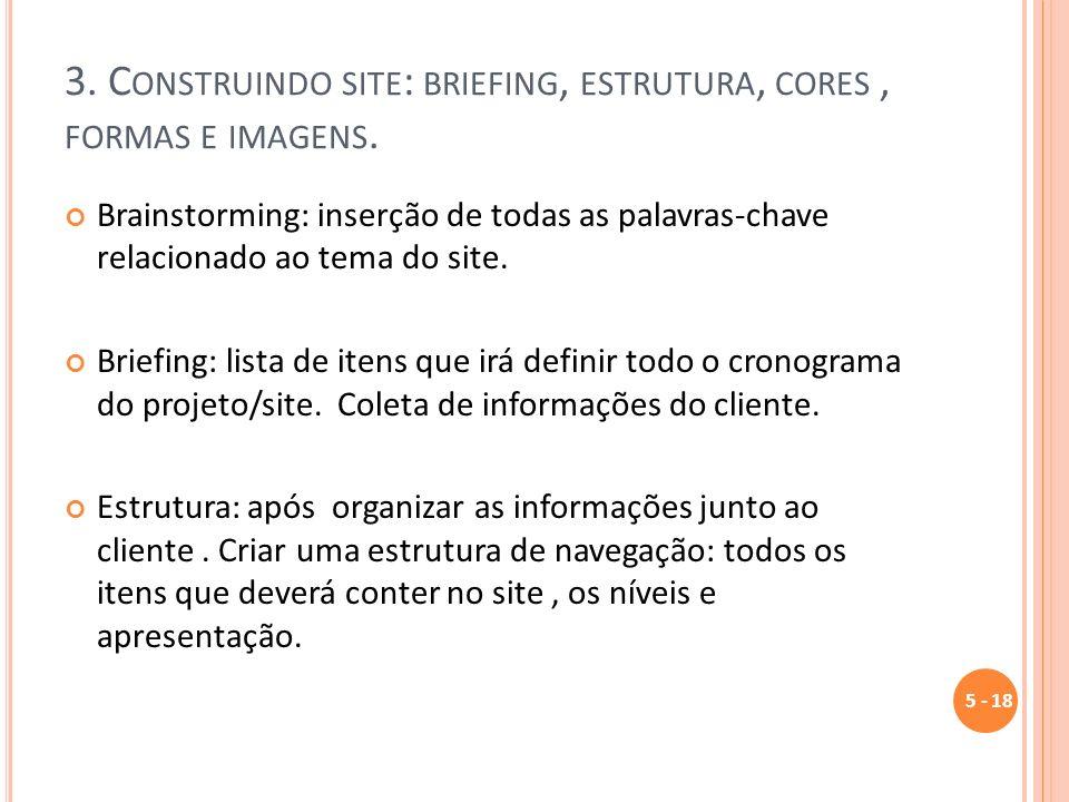 3. Construindo site: briefing, estrutura, cores , formas e imagens.