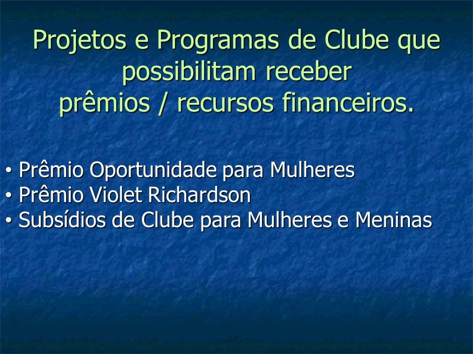 Projetos e Programas de Clube que possibilitam receber