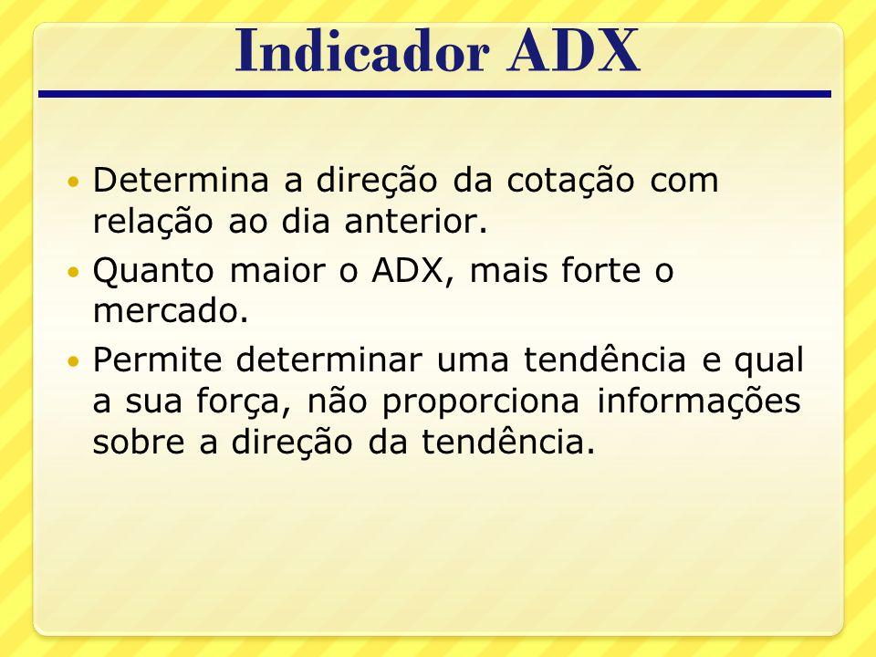 Indicador ADX Determina a direção da cotação com relação ao dia anterior. Quanto maior o ADX, mais forte o mercado.