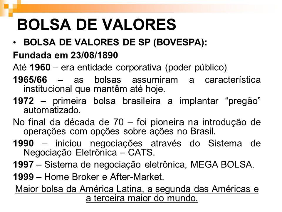 BOLSA DE VALORES BOLSA DE VALORES DE SP (BOVESPA):