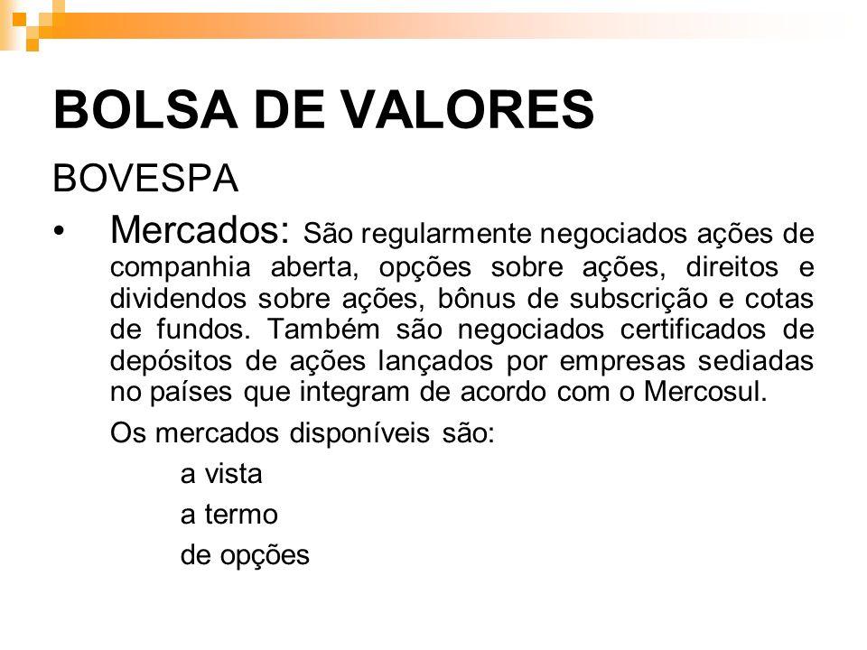 BOLSA DE VALORES BOVESPA