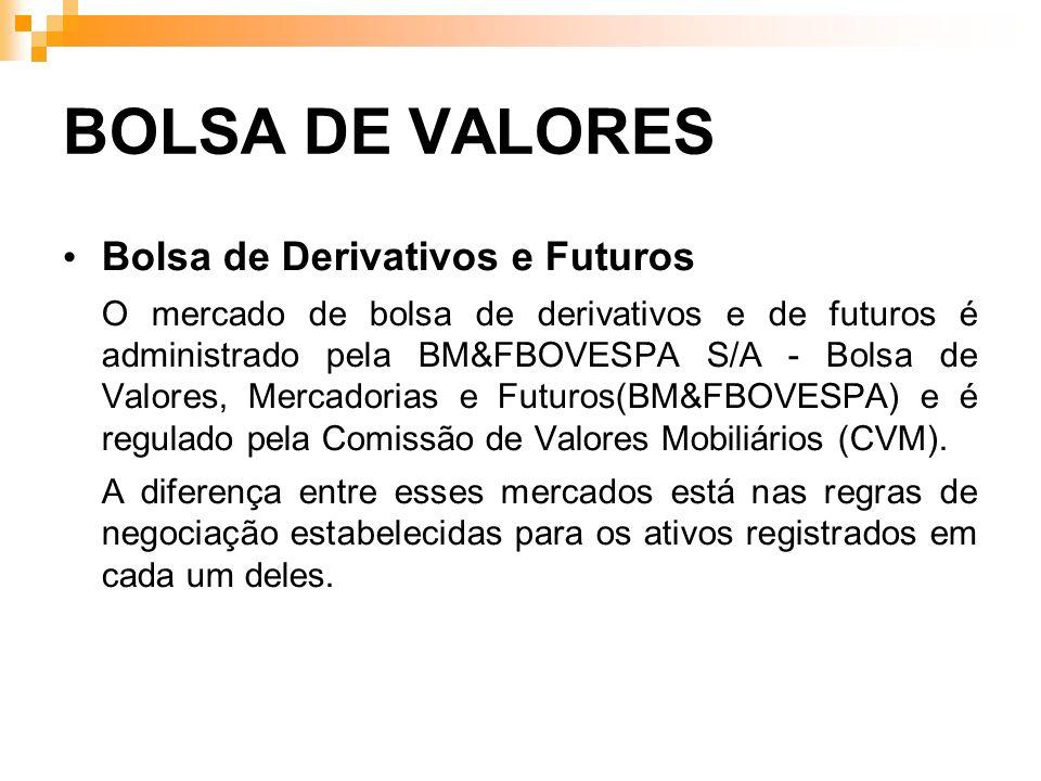 BOLSA DE VALORES Bolsa de Derivativos e Futuros