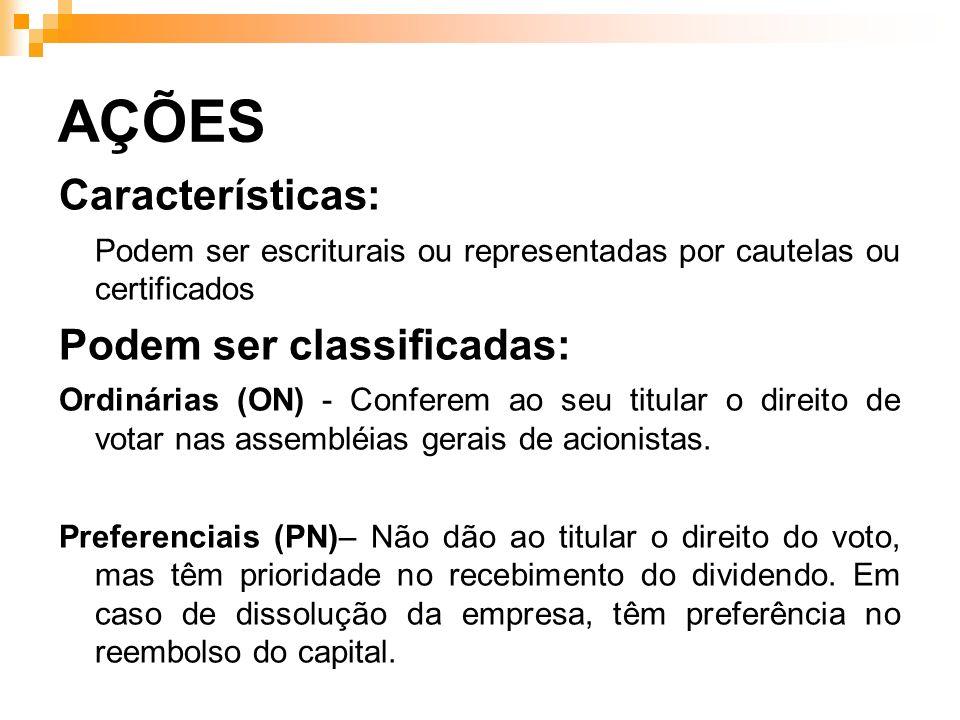 AÇÕES Características: Podem ser classificadas: