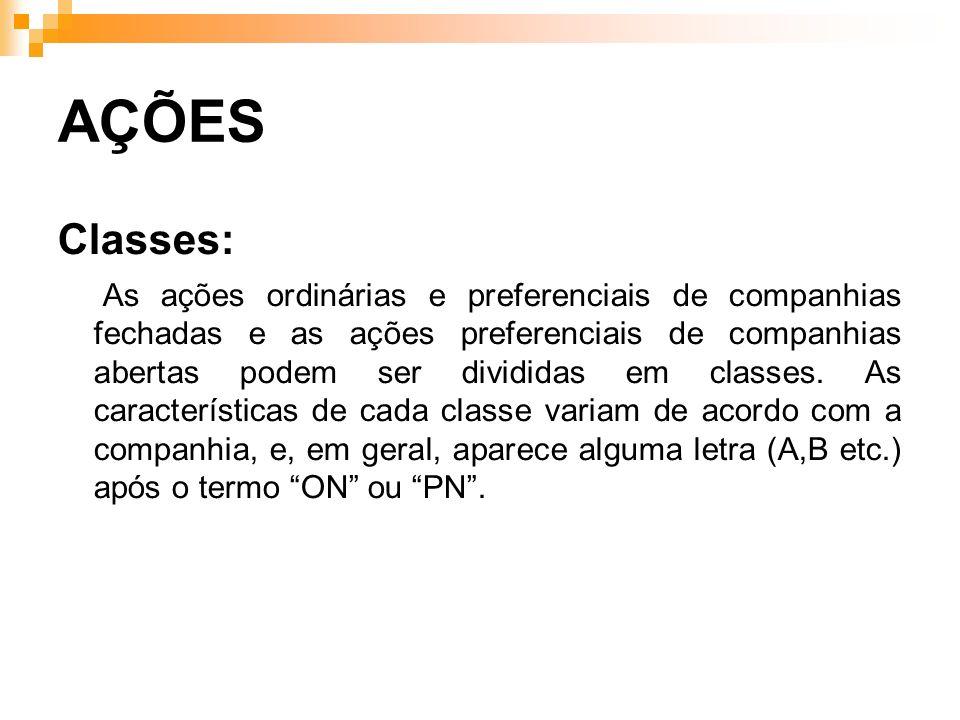 AÇÕES Classes: