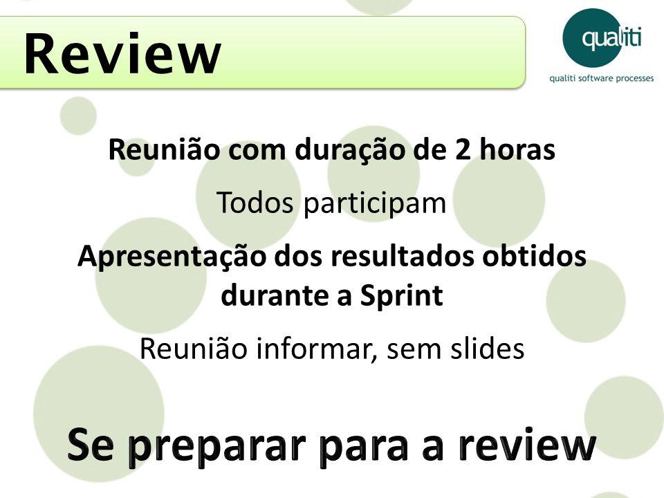 Review Se preparar para a review Reunião com duração de 2 horas