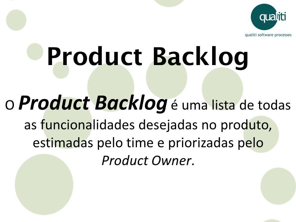Product Backlog O Product Backlog é uma lista de todas as funcionalidades desejadas no produto, estimadas pelo time e priorizadas pelo.