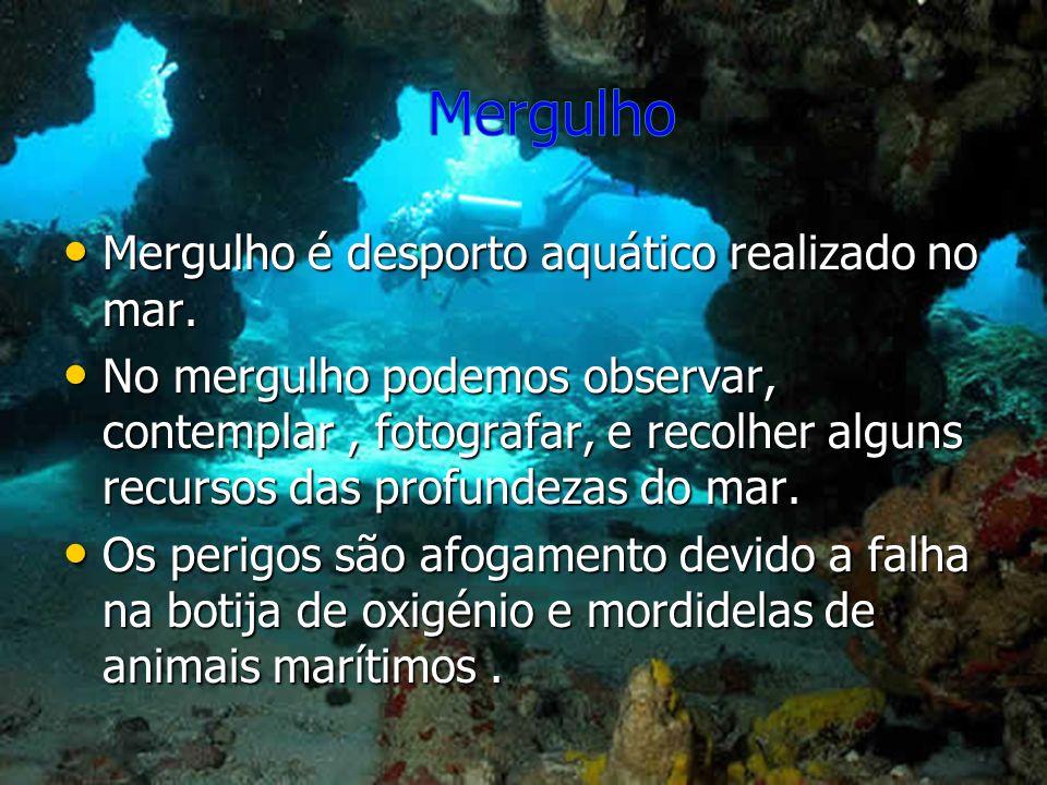 Mergulho Mergulho é desporto aquático realizado no mar.