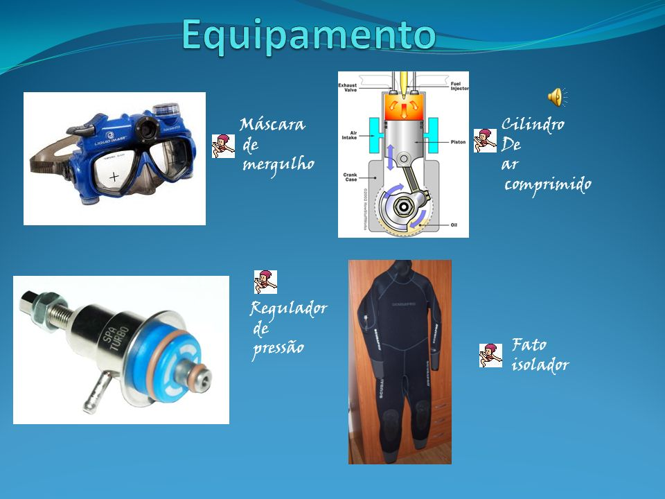 Equipamento Máscara de mergulho Cilindro De ar comprimido Regulador de