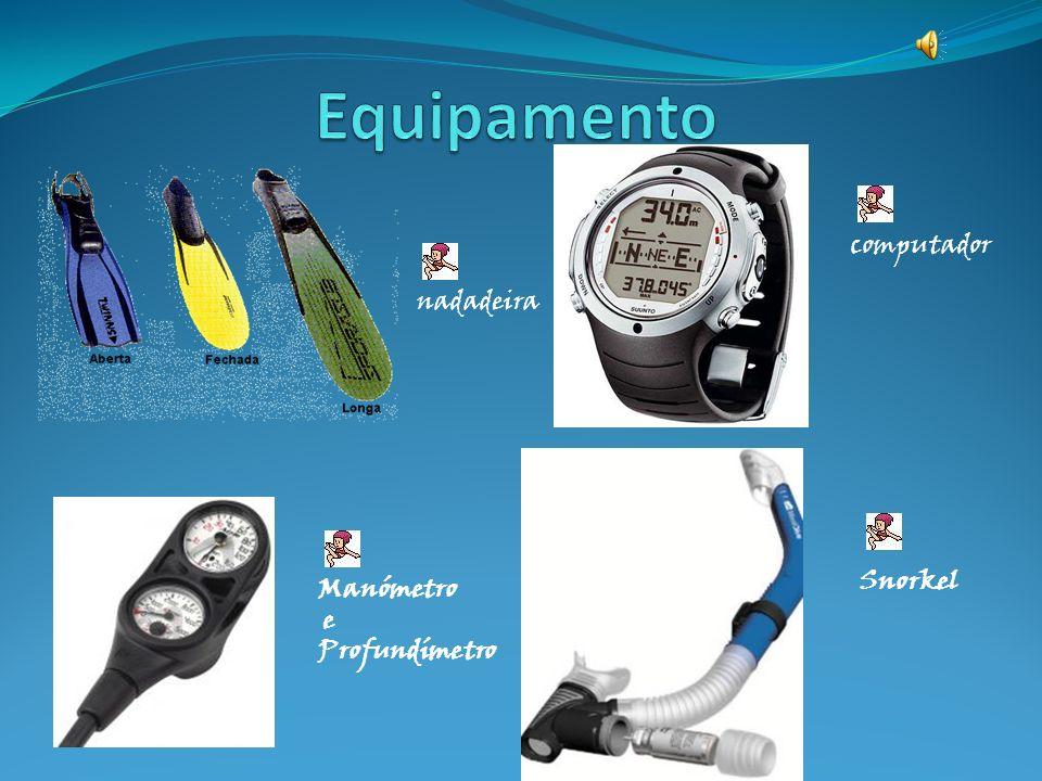 Equipamento computador nadadeira Snorkel Manómetro e Profundímetro