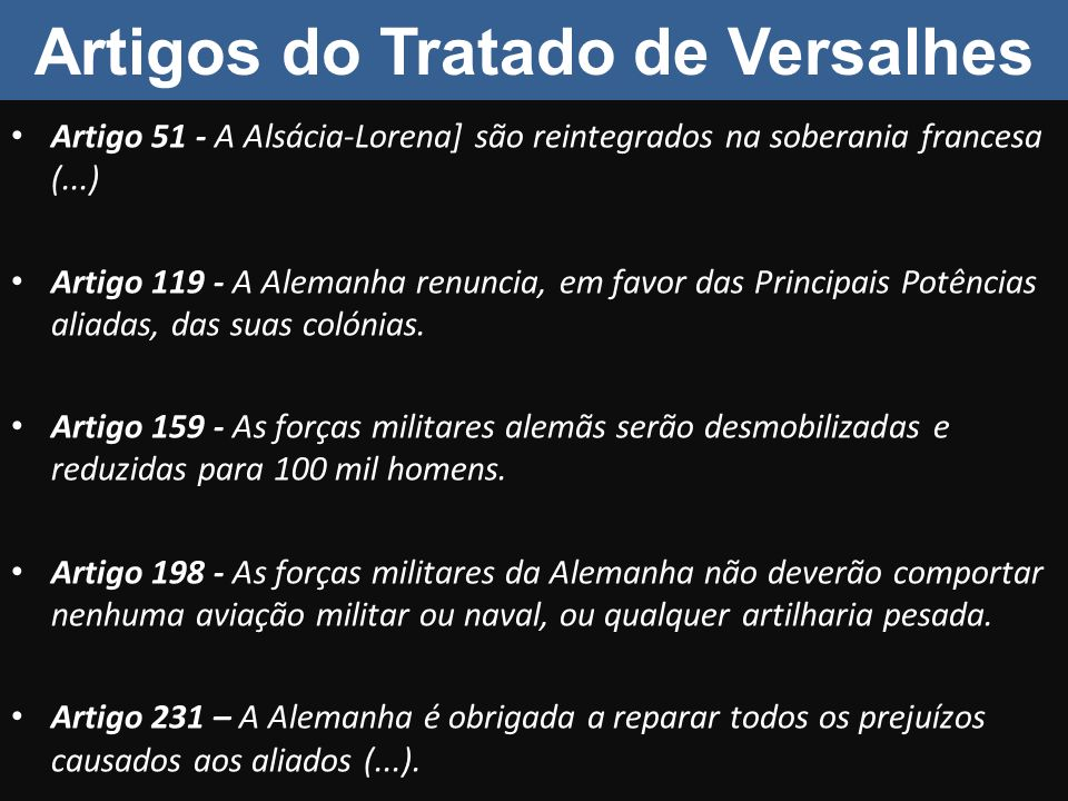 Artigos do Tratado de Versalhes