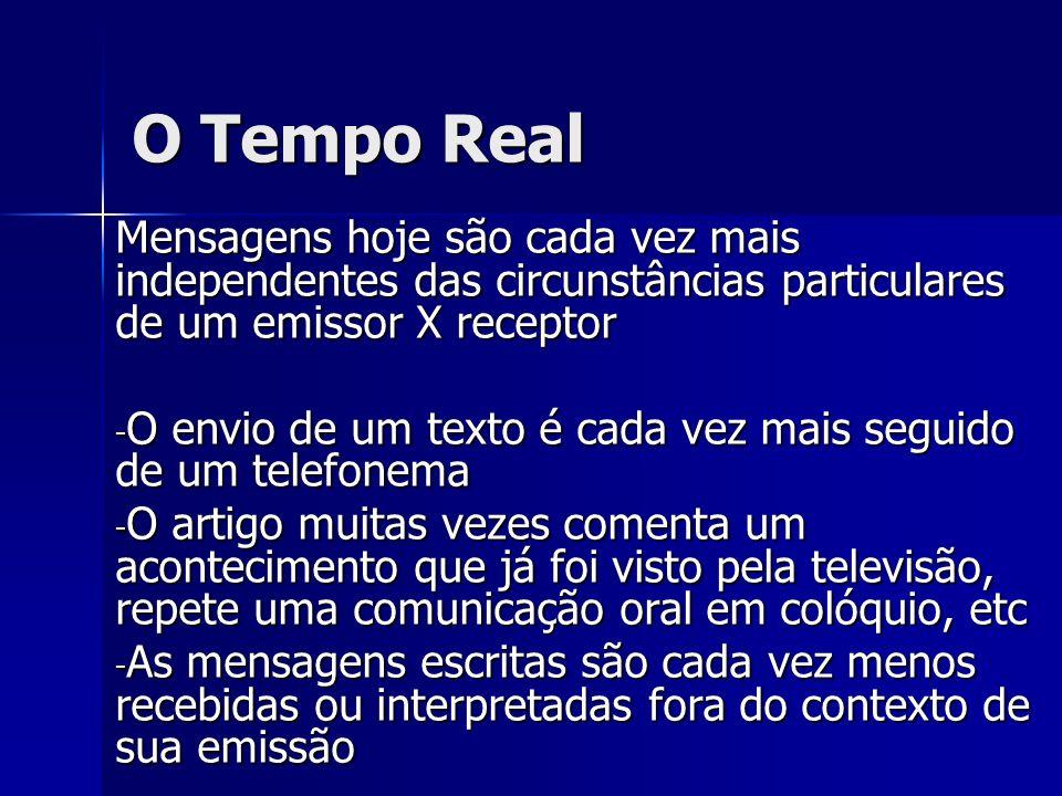 O Tempo Real Mensagens hoje são cada vez mais independentes das circunstâncias particulares de um emissor X receptor.