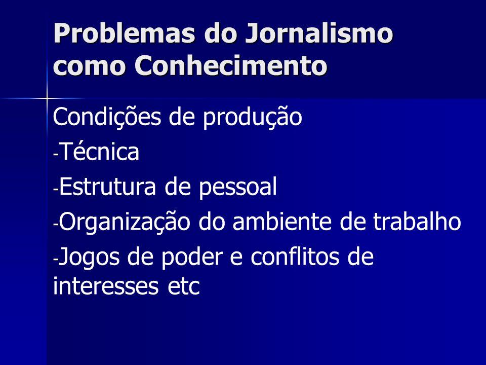 Problemas do Jornalismo como Conhecimento