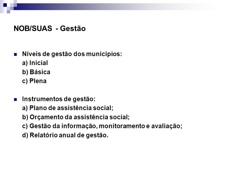 NOB/SUAS - Gestão Níveis de gestão dos municípios: a) Inicial
