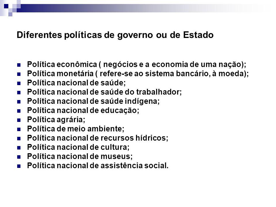 Diferentes políticas de governo ou de Estado