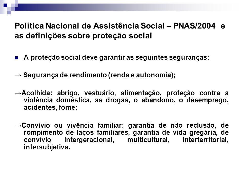 Política Nacional de Assistência Social – PNAS/2004 e as definições sobre proteção social
