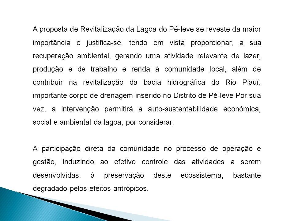A proposta de Revitalização da Lagoa do Pé-leve se reveste da maior importância e justifica-se, tendo em vista proporcionar, a sua recuperação ambiental, gerando uma atividade relevante de lazer, produção e de trabalho e renda à comunidade local, além de contribuir na revitalização da bacia hidrográfica do Rio Piauí, importante corpo de drenagem inserido no Distrito de Pé-leve Por sua vez, a intervenção permitirá a auto-sustentabilidade econômica, social e ambiental da lagoa, por considerar;