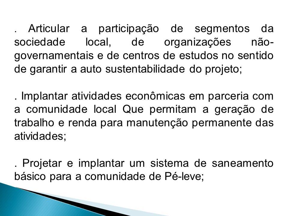 . Articular a participação de segmentos da sociedade local, de organizações não-governamentais e de centros de estudos no sentido de garantir a auto sustentabilidade do projeto;