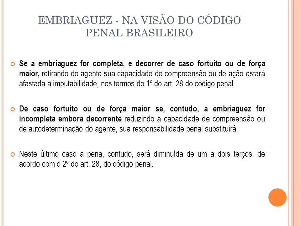 EMBRIAGUEZ - NA VISÃO DO CÓDIGO PENAL BRASILEIRO