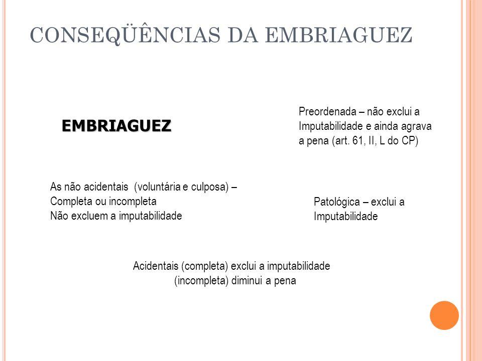 CONSEQÜÊNCIAS DA EMBRIAGUEZ