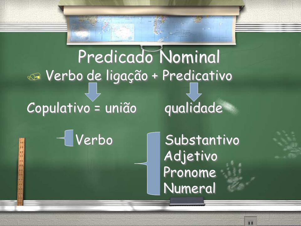 Predicado Nominal Verbo de ligação + Predicativo