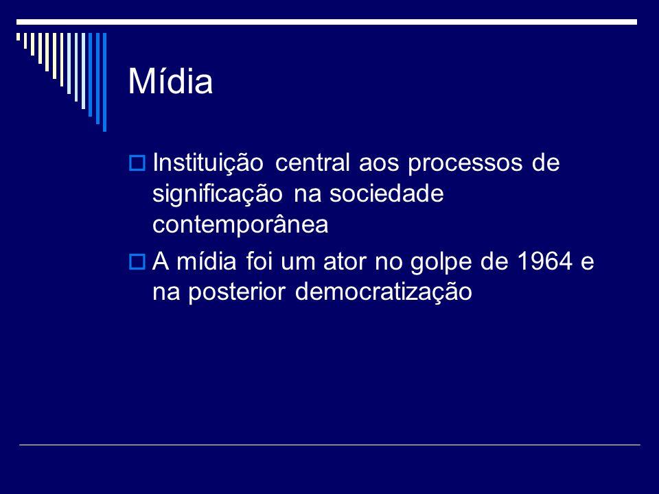 Mídia Instituição central aos processos de significação na sociedade contemporânea.