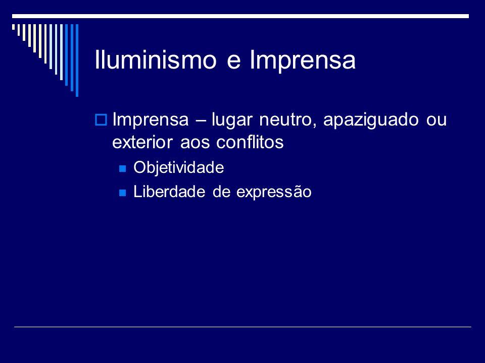 Iluminismo e Imprensa Imprensa – lugar neutro, apaziguado ou exterior aos conflitos. Objetividade.