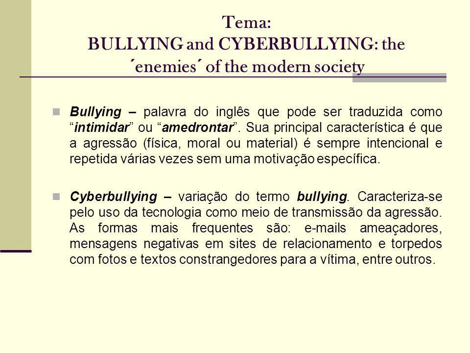 Tema: BULLYING and CYBERBULLYING: the ´enemies´ of the modern society