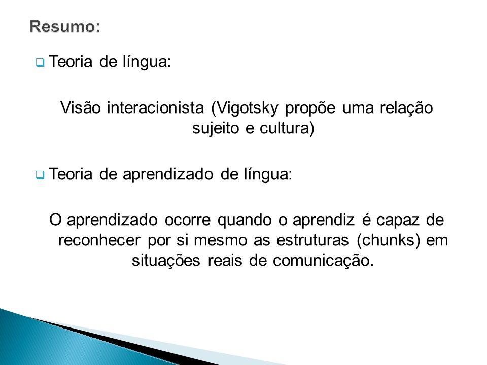 Visão interacionista (Vigotsky propõe uma relação sujeito e cultura)